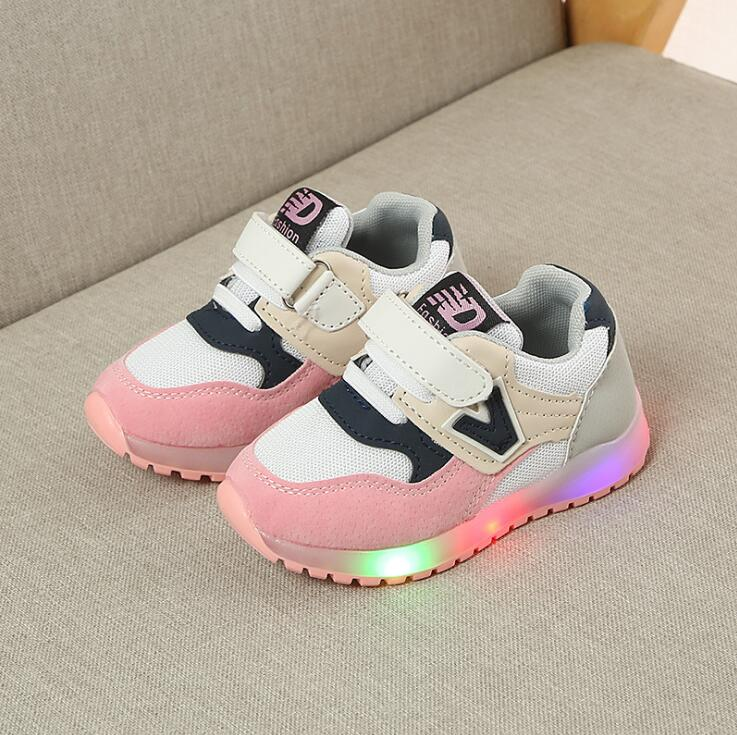 Kids Shoes With Light 2019 New Spring Autumn Children Mesh Luminous Sneakers Baby Girls Sports Shoes For Boys Size 21~30