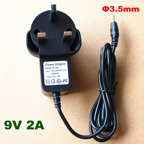 3.5 X 1.35mm  9V 2A 2000mA DC UK Plug Converter Charger Power Supply Adapter for Tablet PC, free shipping