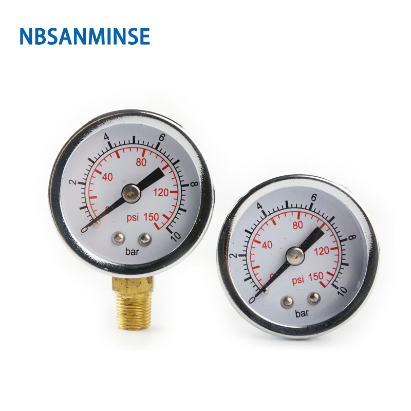 NBSANMINSE 1.5 Inch 40mm Metal Pressure Gauge G NPT 1/8 Air Pneumatic Gauge Manometer