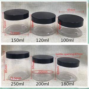 Image 5 - 30 pcs จัดส่งฟรี 50 100 150 180 200 250 ml ครีมขนมพลาสติกบรรจุภัณฑ์ขวดฝาปิดสีดำ Jar pill ภาชนะเครื่องเทศ Bank