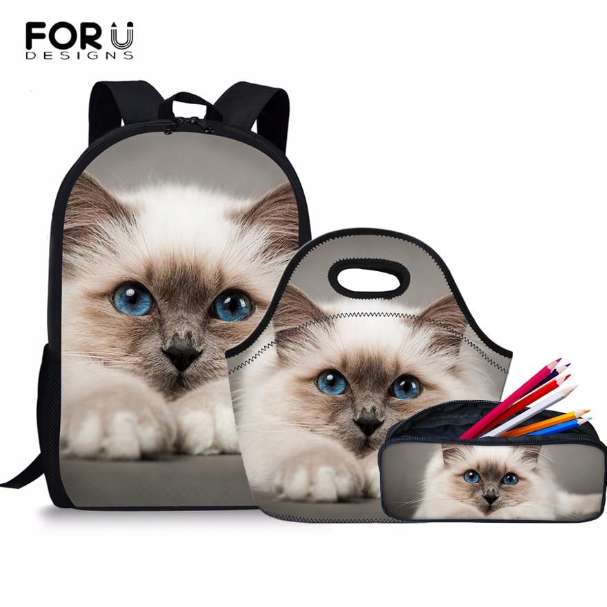 FORUDESIGNS Kawaii School Backpack Set Kids Schoolbag Siamese Cat Pattern School Bags For Girls Boys Book Bag Teenager Mochila