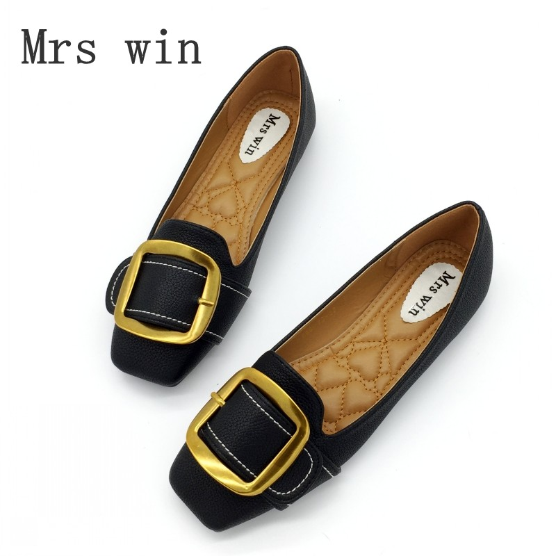 Mrs Win Brand Woman Flats Shoes Slip On Women Square Toe Single Shoes Buckle Ladies shoes Soft Footwear Zapatos Mujer Plus Size lady glitter high fashion designer brand bow soft flock plus size 43 leisure pointed toe flats square heels single shoes slip on