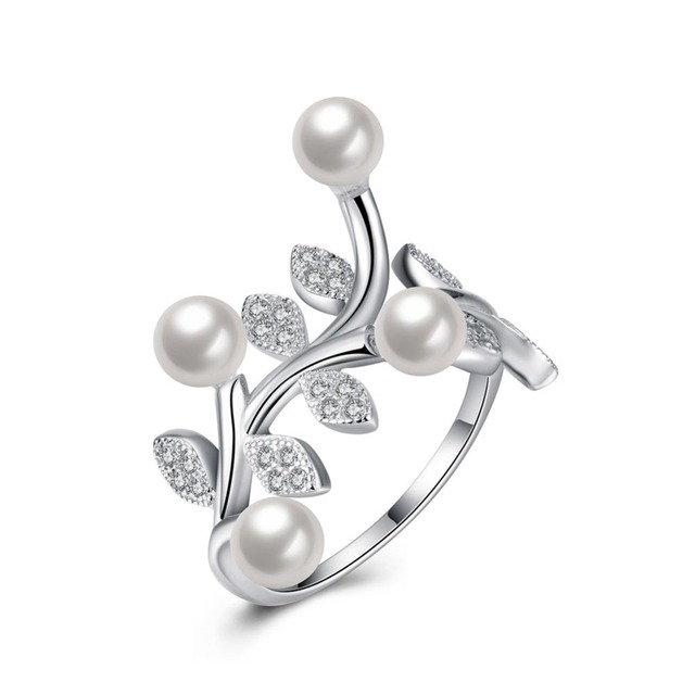 d523c374e Classic Natural Freshwater Pearl Ring Anti-Tarnish Rhodium Plated 925  Sterling Silver Jewelry For Women 2016 New