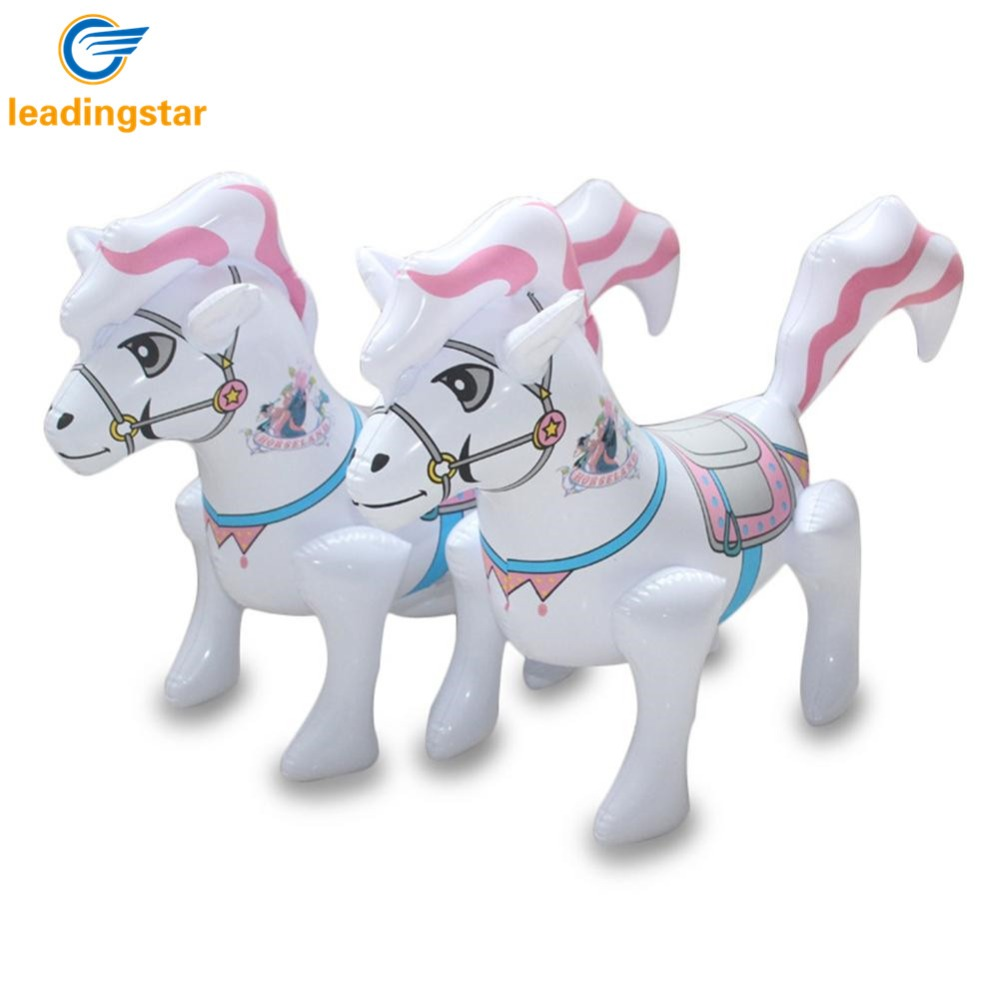 LeadingStar Kids Thicken Inflatable Toys PVC Inflated Simulation White Horse Shape Printing Interactive Toy zk25