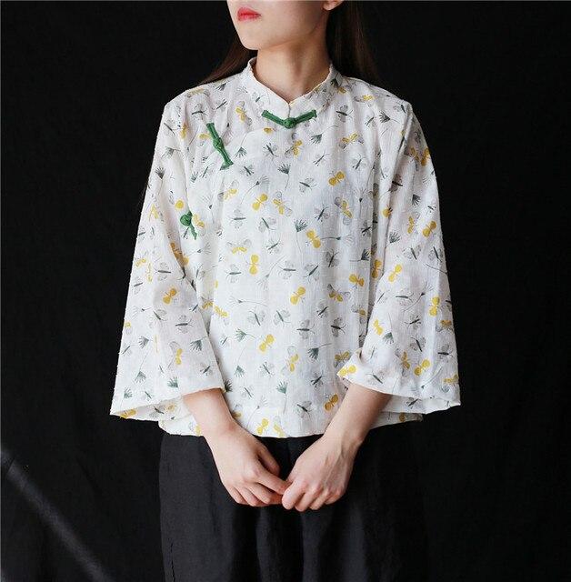 9891b3c4 Johnature 2019 New Summer Women Clothes Regular Nine Quarter Sleeve Stand  Collar Vintage Shirts Print Casual Tops Women Blouses