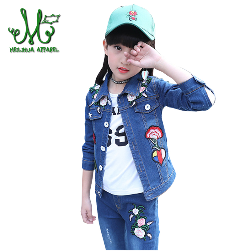 2018 Girls Denim Clothes Fashion  Embroidery Floral Girl Jacket&Jeans 2 Pcs Children Cotton Casual Outfits For 4 6 8 10 12 14Y2018 Girls Denim Clothes Fashion  Embroidery Floral Girl Jacket&Jeans 2 Pcs Children Cotton Casual Outfits For 4 6 8 10 12 14Y