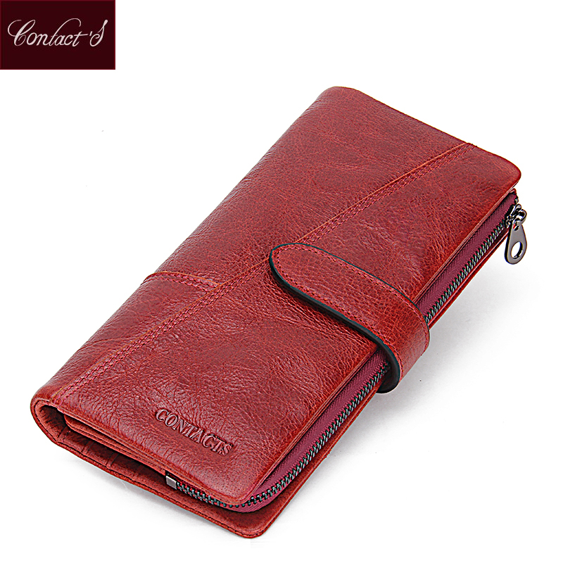 Contact's Women Wallets Brand Design High Quality Genuine Leather Wallet Female Hasp Fashion Dollar Price Long Women Wallets