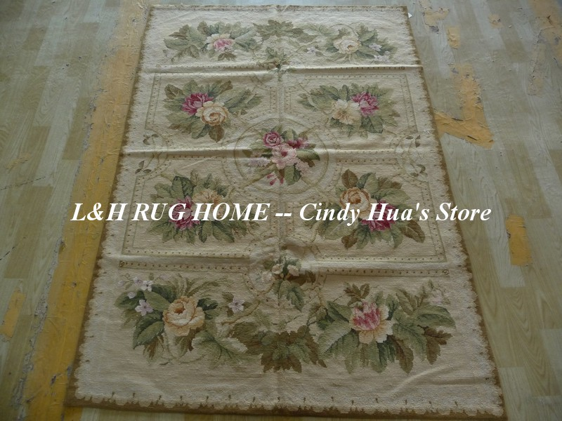 Livraison gratuite 4'x6 'tapis à l'aiguille, tapis fait main 100% laine de nouvelle-zélande design Floral