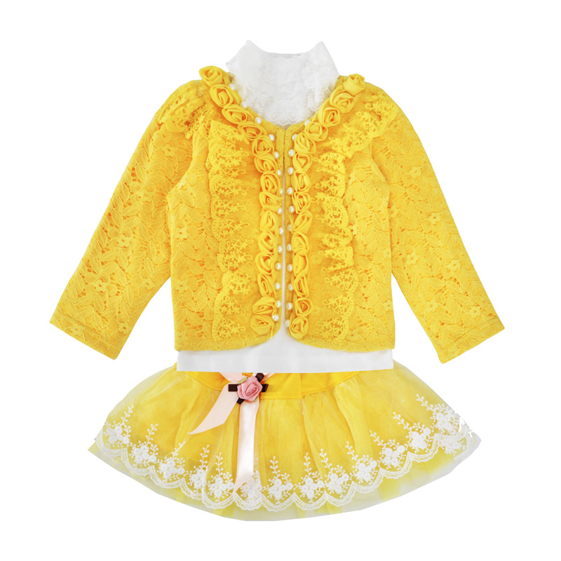 Baby Girls Clothing Set Fashion Flower Lace Coat Tutu Skirt Long Sleeve T Shirt 3pcs Outfits Children Clothing Sets Yellow newborn toddler girls summer t shirt skirt clothing set kids baby girl denim tops shirt tutu skirts party 3pcs outfits set