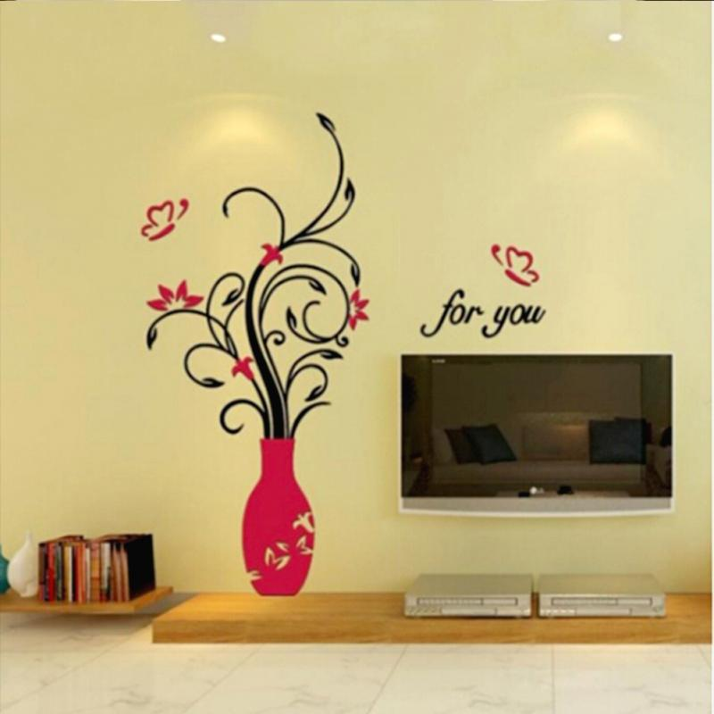 New Household Wall Decor 3D Wall Sticker Acrylic DIY Vase Flower ...