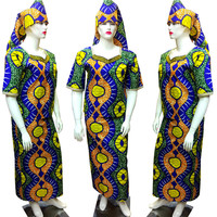 GuyuEra 11 Colors of Flowers African Dress for Women Wax Cloth Woman Dress Set Three Piece Suit African Dashiki+Scarf