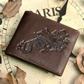 2016 new brand Genuine Leather men Wallets dragon style head cowhide men's wallet purse removable card holder  carteira