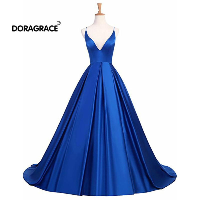 Doragrace robe de soiree Simple A-Line V-Neck Criss-Cross Back Satin Prom Gowns Long   Evening     Dress