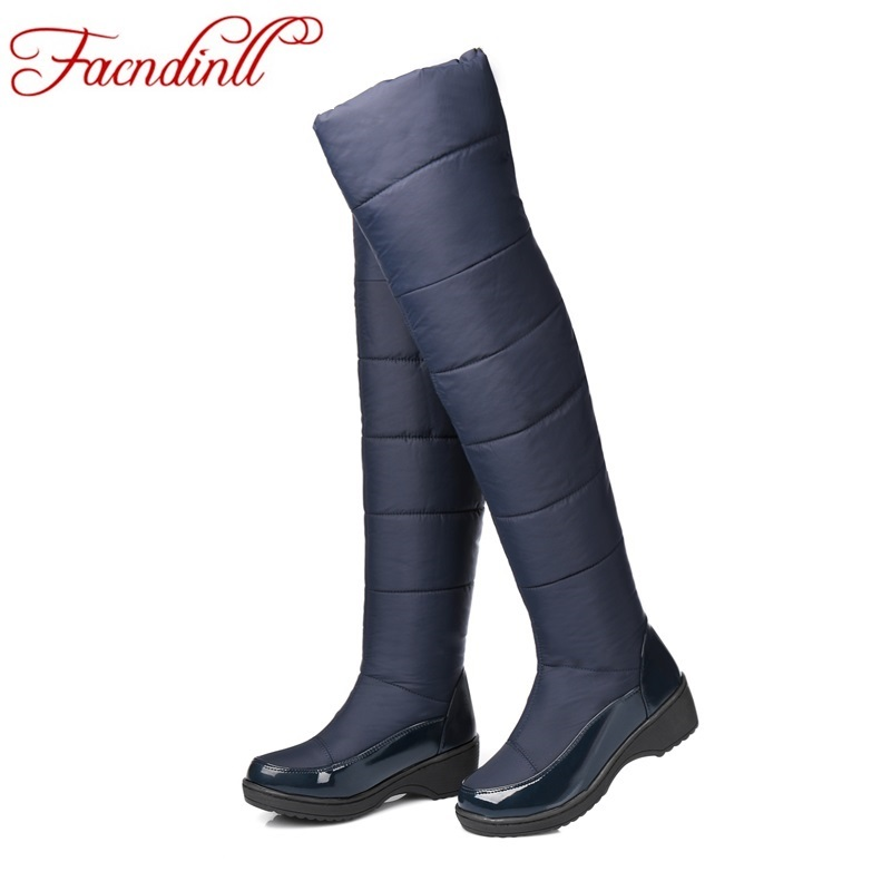 ФОТО new fashion shoes woman over the knee high boots flats heels round toe casual shoes woman winter snow boots black long boots