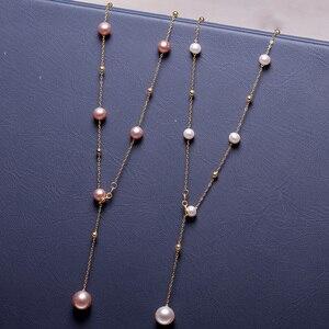 Image 3 - YS 真珠ネックレス 18 18k 純金 Au750 ナチュラル養殖淡水真珠チェーンネックレス女性ガール品質ファインジュエリー