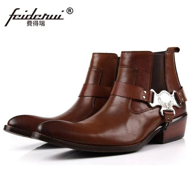 Luxury Runway Man Handmade Brand Punk Shoes Male Designer Genuine Leather Cowboy Men s Pointed Toe