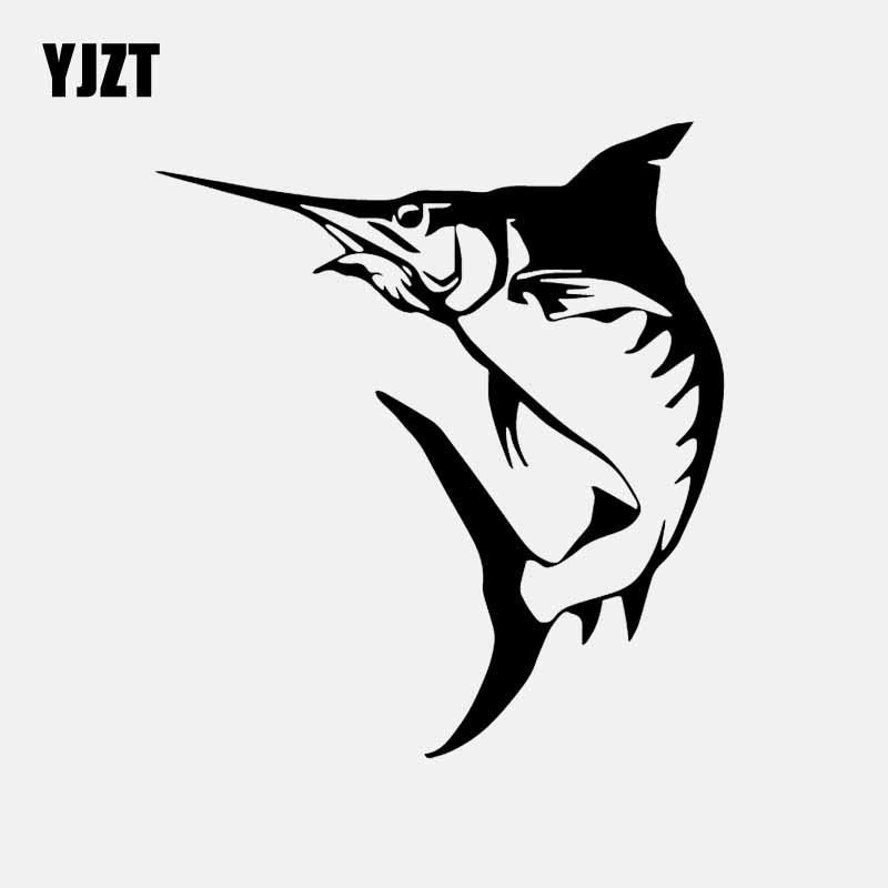 YJZT 13.9CM*15.6CM Marlin Fish Fishing Hobby Marine Animal Decor Decal Vinyl Car Sticker Art  Black/Silver C24-0837