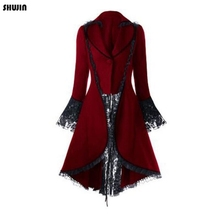 SHUJIN 2019 Women Gothic Tailcoat Jacket Steampunk Tuxedo Suit Corset Halloween Costume Outfits Ladies Casual V Neck Jacket Coat