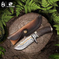 HX OUTDOORS tactical knives survival Gold Antler knife Damascus knife Seal fixed high quality Hunting Damascus top quality knife