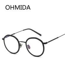 f34f306aff95d0 OHMIDA Nouvelle Mode Ronde Miroir Lunettes Cadre Femmes Glasse Ultraléger  TR Objectif Marque De Luxe Rétro Lunettes Or Bouclier .