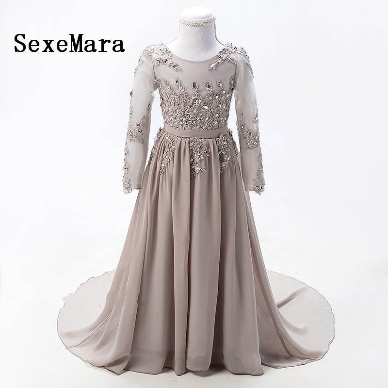 Real Picture Grey Long Sleeves Flower Girl Dresses for Wedding Diamond Sequined Lace First Communion dresses for girls grey side pockets cold shoulder long sleeves dresses