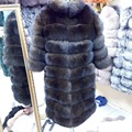 New Brand Winter Real Blue Fox Fur Coat Thick Warm Imitation Of Sables Women's Light Brown Long Jacket The fox fur Coat