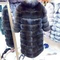 Nueva Marca de Invierno Gruesa Campera de Abrigo de Imitación de piel de Zorro Azul Real de Sables Luz Castaño Largo Chaqueta de La piel de zorro de Las Mujeres Abrigo