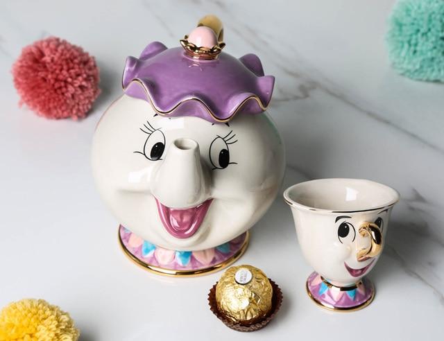 Hot Sale Cartoon Beauty And The Beast Teapot Mug Mrs Potts Chip Tea Pot Cup One Set Nice Christmas Gift Free Shipping 3