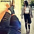 Новинка 2015 стильные женские высококачественные хлопковые деним черные джинсы с высокой талией для женщин обтягивающие прямые рваные брюки с дырками джинсы для женщин