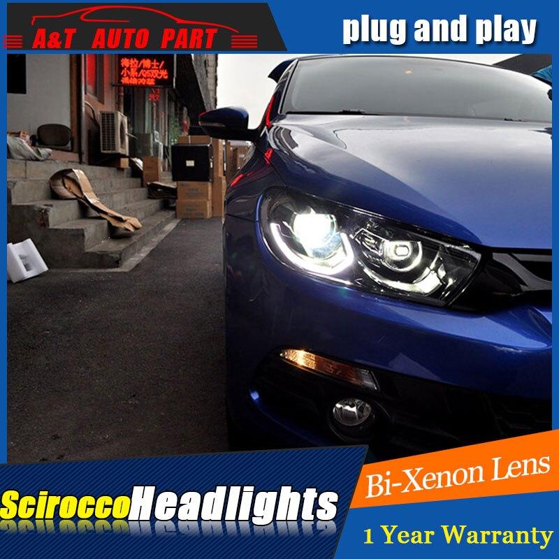 Светодиодные фары для автомобиля VW Scirocco 1,4 T 2,0 T светодиодные фары 2009-2017 для Scirocco H7 hid Bi-Xenon объектив angel eye ближнего света