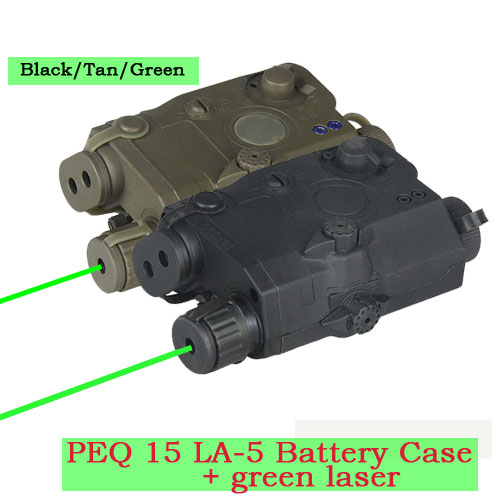 New Arrival PEQ 15 LA-5 Battery Case +Tactical Green Laser Sight For Hunting HS20-0025Green