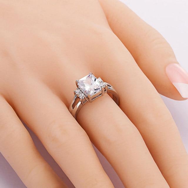 Exquisite Princess Cut Cubic Zirconia Fashion Ring 1