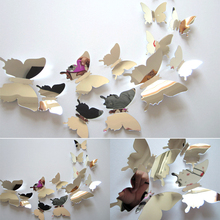 12pcs/set New Arrive Mirror Sliver 3D Butterfly Wall Stickers Party Wedding Decor DIY Home Decorations Wall Sticker 12pcs set new arrive mirror sliver 3d butterfly wall stickers party wedding decor diy home decorations wall sticker 5 colors