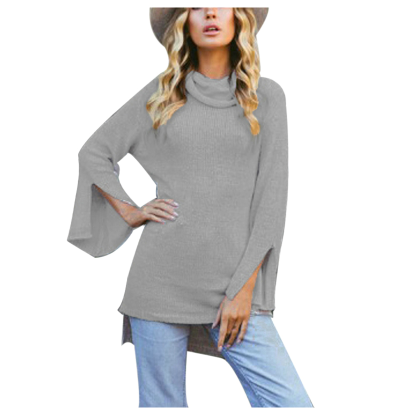 TKOH Women Fashion Sweaters for Ladies New Autumn Winter Turtleneck Full Flare Sleeve Split Design Long Pullover Sweater Femal
