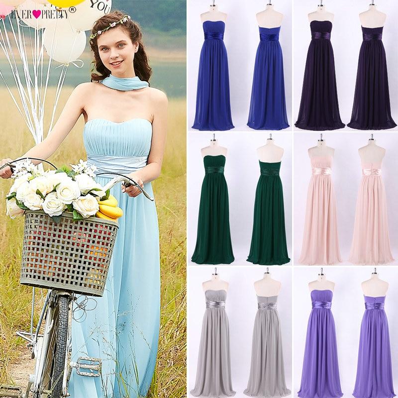 Long Evening Dresses Ever Pretty EP09955 Strapless Ruched Bust Black Chiffon 2019 Formal Elegant Evening Dresses