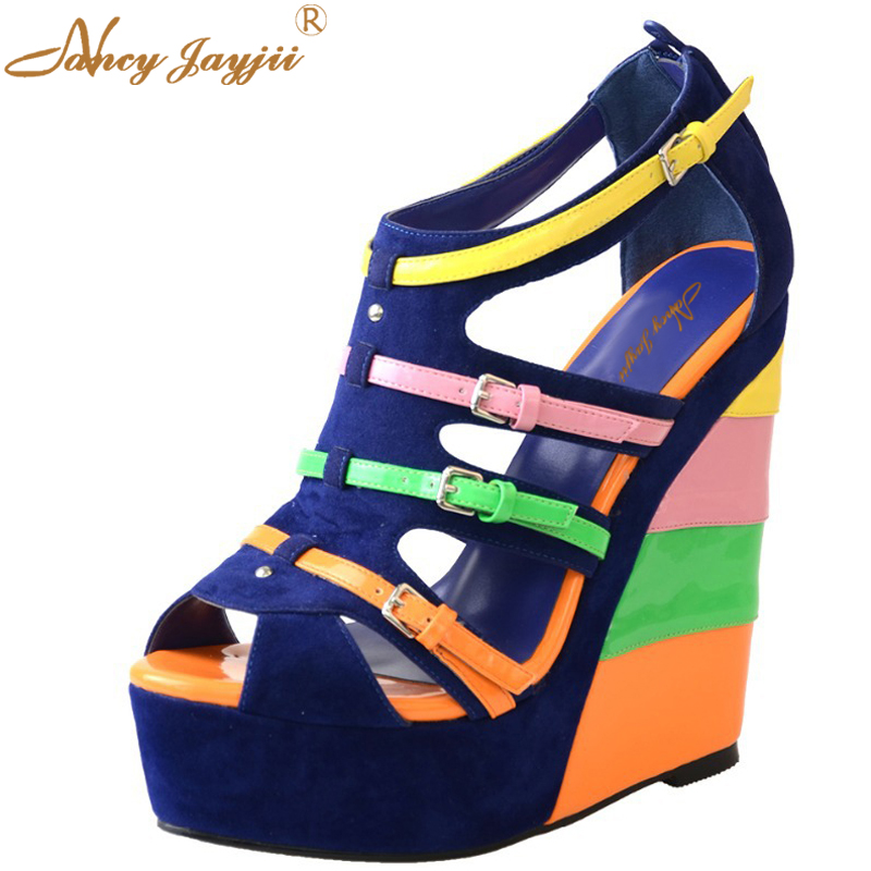Wedges Super High Platform Gladiator Blue Multi Girl Sandals Summer Boots  Women Shoes Flock Stylish Heels Womens Shoes Size 17 phyanic 2017 gladiator sandals gold silver shoes woman summer platform wedges glitters creepers casual women shoes phy3323