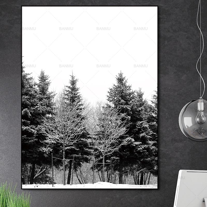 Skandinavia Musim Dingin Salju Hutan Pohon Nordic Abstrak Gambar - Dekorasi rumah - Foto 4