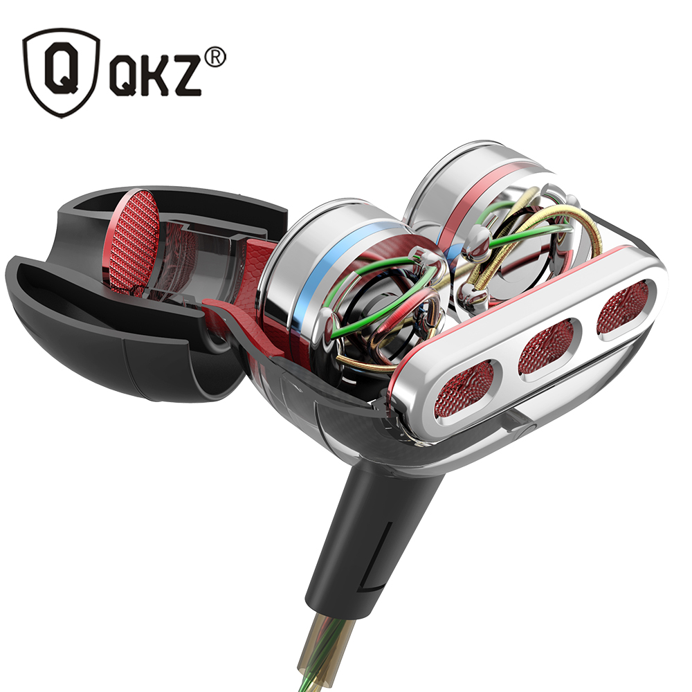 Mais novo QKZ KD8 Dupla Unidade Drive In Ear Earphone Subwoofer Fone de Ouvido de ALTA FIDELIDADE de Graves DJ Monito Correndo Esporte Fone De Ouvido Fone de Ouvido Intra-auriculares
