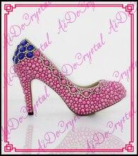 Aidocrystal fashion rot blau perle frauen pumpen damen high heels handgefertigte schuhe frau hochzeit brautschuhe hochzeit schuhe