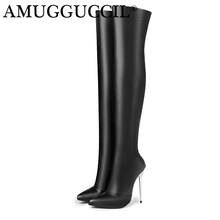 2018 New Arrival Plus Big Size 33-43 Black Red Zip 12.5CM High Heel Sexy Over The Knee Thigh High Autumn Winter Women Boot X1701