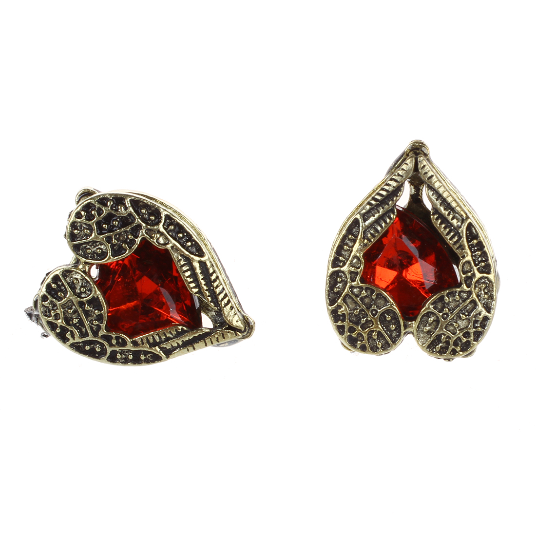Retro Antique Red Stone Heart Shaped Earrings Fashion Angel Wings(china  (mainland))