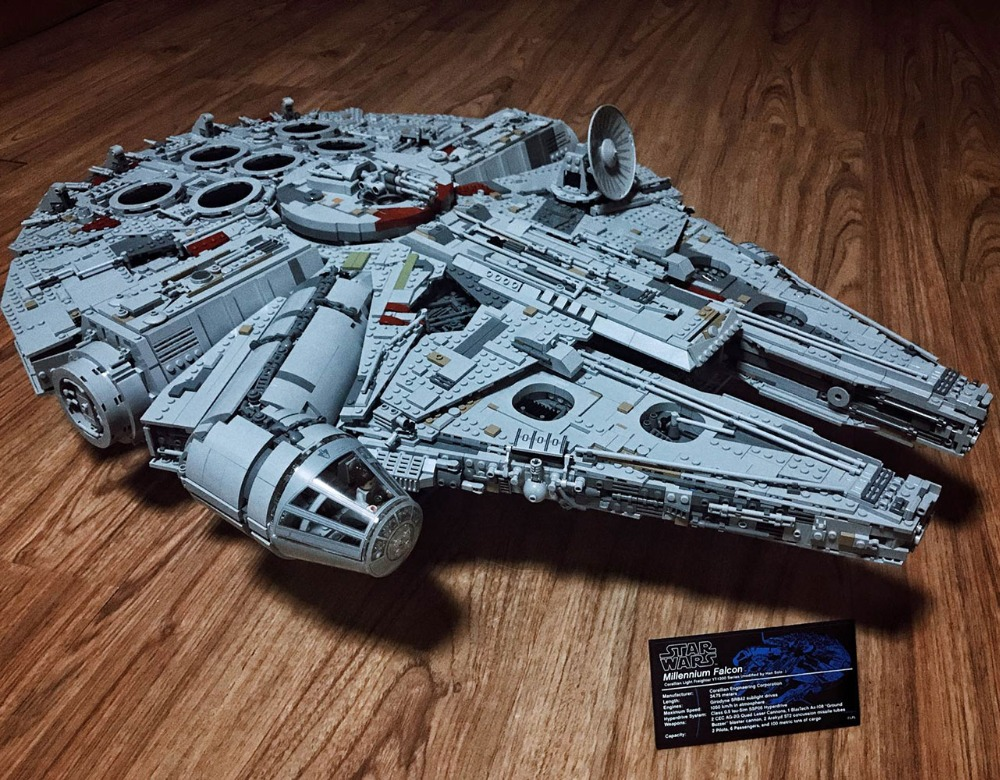 цена Star Destroyer Millennium Falcon Model Building Block Bricks Toys 8445Pcs Compatible with Legoings Star Wars 75192