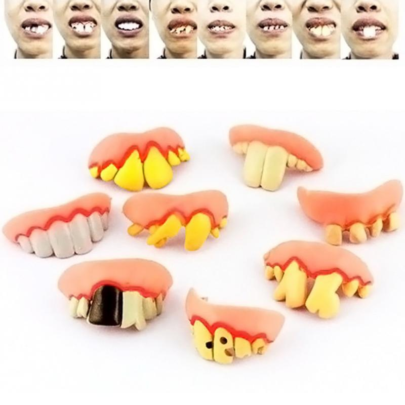 Interesting Holiday Tool Fake Vampire Denture Teeth Halloween Decoration Props Funny Goofy Toys in Party DIY Decorations from Home Garden