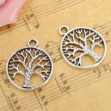 50Pcs Tree of Life Round Circle Charms Pendant Findings for Necklace Bracelet Jewelry Making DIY Handmade Accessories