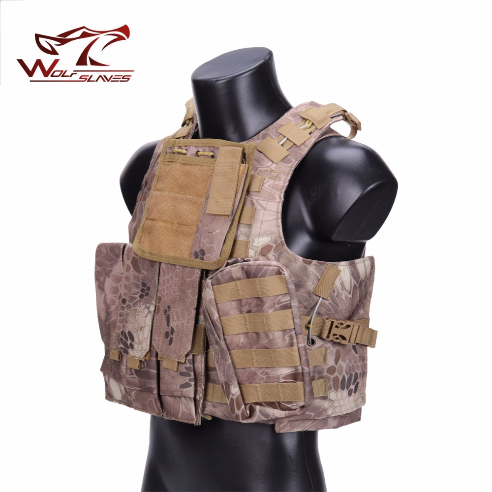 Outdoor CS Tactical Vest Camouflage Military USMC FSBE MOLLE Airsoft Combat Assault Plate Carrier Vest with 3 Magazine Pouches