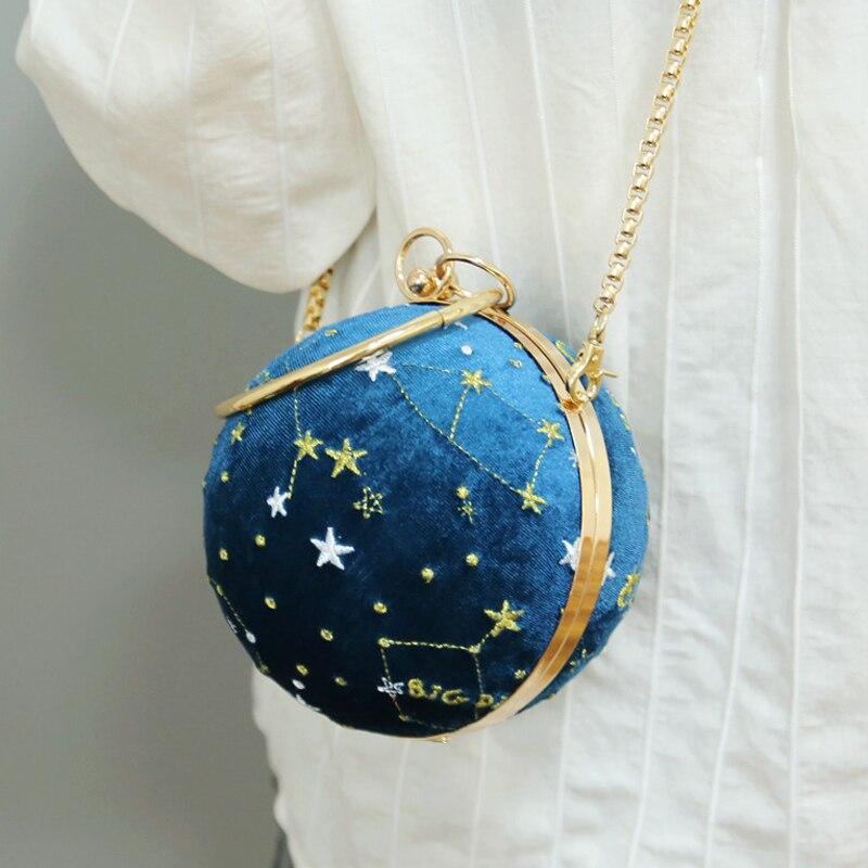 Printed Letter LOVE Fashion Women Handbags Round Shaped Diamonds Velvet Evening Bags Rhinestones Party Wedding Clutches