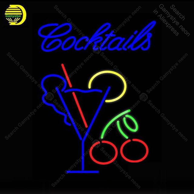 NEON SIGN For Cocktail With Martini REAL GLASS BEER BAR PUB display Restaurant indoor Light Signs Handcrafted Night Art Lamps