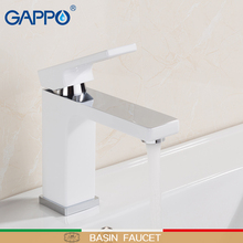 GAPPO Basin faucets white washbasin bath faucets brass basin mixer chrome waterfall tap bathroom sink faucet water kemaidi new hand painted gold bathroom washbasin bath set faucet mixer taps tempered glass basin veseel faucets chrome finished