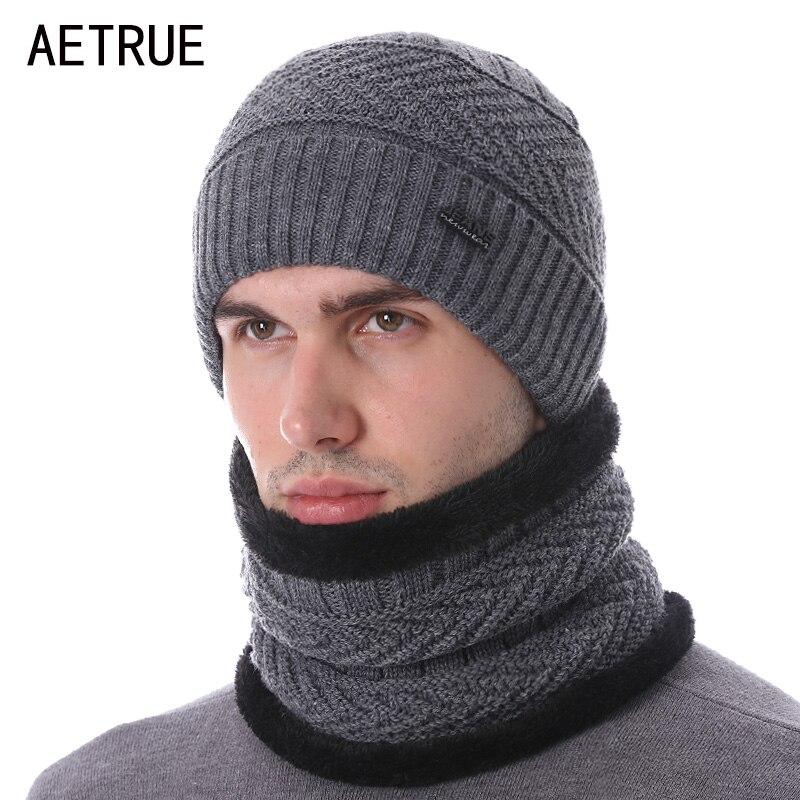 AETRUE Brand Winter Hats For Men Women Skullies Beanies Men Scarf Knitted Hat Caps Male Mask Gorras Bonnet Warm Neck Beanie Hat