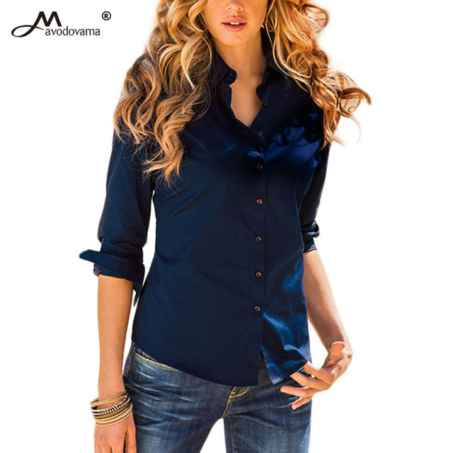 Avodovama M 2018 5 Solid Color New Long-Sleeve Shirt Female Cotton Blouse Women's Slim Clothing Office Blouse